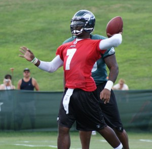 Michael Vick has been impressive in his playing time this year for the Eagles, completing nearly 64 percent of his passes for 459 yards, three touchdowns and no interceptions. (Photo: Ryan Messick)