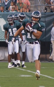 Eagles wide receiver Chad Hall makes a catch during a drill on Flight Night.
