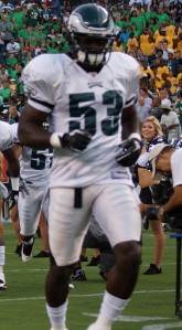 Eagles linebacker Moise Fokou makes his entrance at Lincoln Financial Field.