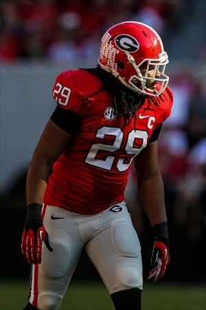 Nov 3, 2012; Athens, GA, USA; Georgia Bulldogs linebacker Jarvis Jones (29) in the game against the Mississippi Rebels at Sanford Stadium. Georgia won 37-10. Mandatory Credit: Daniel Shirey-USA TODAY Sports