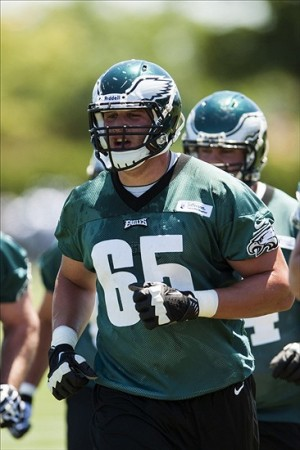 Jun 4, 2013; Philadelphia, PA, USA; Philadelphia Eagles first round draft pick offensive tackle Lane Johnson (65) during minicamp at the NovaCare Complex. Mandatory Credit: Howard Smith-USA TODAY Sports