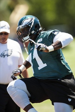 Jun 4, 2013; Philadelphia, PA, USA; Philadelphia Eagles tackle Jason Peters (71) during minicamp at the NovaCare Complex. Mandatory Credit: Howard Smith-USA TODAY Sports