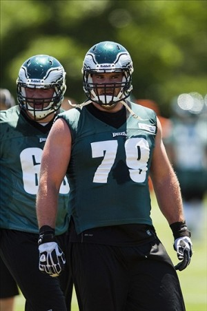 Jun 4, 2013; Philadelphia, PA, USA; Philadelphia Eagles tackle Todd Herremans (79) during minicamp at the NovaCare Complex. Mandatory Credit: Howard Smith-USA TODAY Sports