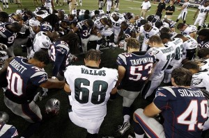 Aug 20, 2012; Foxborough, MA, USA; The New England Patriots and the Philadelphia Eagles gather after the preseason game at Gillette Stadium. The Eagles defeated the Patriots 27-17. Mandatory Credit: David Butler II-USA TODAY Sports