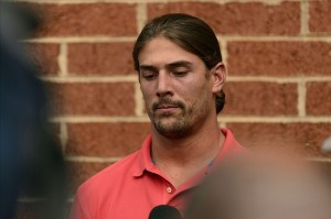 Jul 31, 2013; Philadelphia, PA, USA; Philadelphia Eagles wide receiver Riley Cooper (14) addresses the media concerning an internet video at the Eagles NovaCare Complex. Mandatory Credit: Howard Smith-USA TODAY Sports