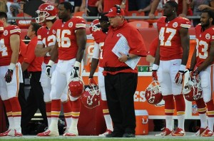 Aug 16, 2013; Kansas City, MO, USA; Kansas City Chiefs head coach Andy Reid watches play during the first quarter of the game against the San Francisco 49ers at Arrowhead Stadium. Mandatory Credit: Denny Medley-USA TODAY Sports