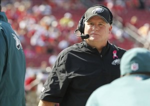 Oct 13, 2013; Tampa, FL, USA; Philadelphia Eagles head coach Chip Kelly on the sidelines during the second half against the Tampa Bay Buccaneers at Raymond James Stadium. Philadelphia Eagles defeated the Tampa Bay Buccaneers 31-20. Mandatory Credit: Kim Klement-USA TODAY Sports