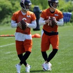 Jun 11, 2013; Lake Forest, IL, USA; Chicago Bears quarterback Jay Cutler (6) and quarterback Josh McCown (12) during minicamp at Halas Hall. Mandatory Credit: David Banks-USA TODAY Sports