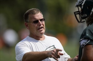 Jul 23, 2013; Philadelphia, PA, USA; Philadelphia Eagles offensive line coach Jeff Stoutland during training camp at the Eagles NovaCare Complex. Mandatory Credit: Howard Smith-USA TODAY Sports