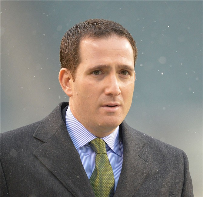 Dec 8, 2013; Philadelphia, PA, USA; Philadelphia Eagles General Manager Howie Roseman prior to the game against the Detroit Lions at Lincoln Financial Field. Mandatory Credit: Jeffrey G. Pittenger-USA TODAY Sports