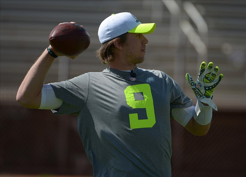January 24, 2014; Kapolei, HI, USA; Philadelphia Eagles quarterback Nick Foles (9) throws a pass during the 2014 Pro Bowl practice at Kapolei High School. Mandatory Credit: Kirby Lee-USA TODAY Sports