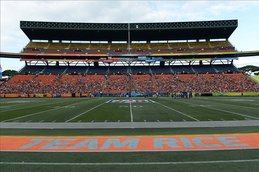 January 25, 2014; Honolulu, HI, USA; General view of the Team Rice sideline during the 2014 Pro Bowl Ohana Day at Aloha Stadium. Mandatory Credit: Kirby Lee-USA TODAY Sports