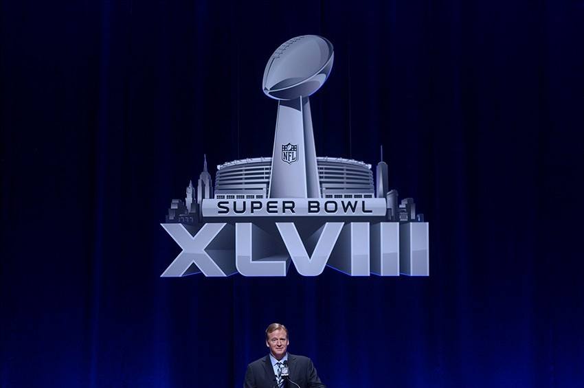 Jan 31, 2014; New York, NY, USA; NFL commissioner Roger Goodell addresses the media at Rose Theater in advance of Super Bowl XLVIII. Mandatory Credit: Kirby Lee-USA TODAY Sports