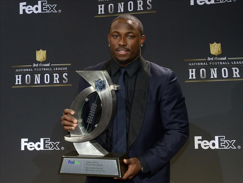 Feb 1, 2014; New York, NY, USA; Philadelphia Eagles running back LeSean McCoy receives the FedEx Ground Player of the Year award at the 3rd NFL Honors at Radio City Music Hall. Mandatory Credit: Kirby Lee-USA TODAY Sports