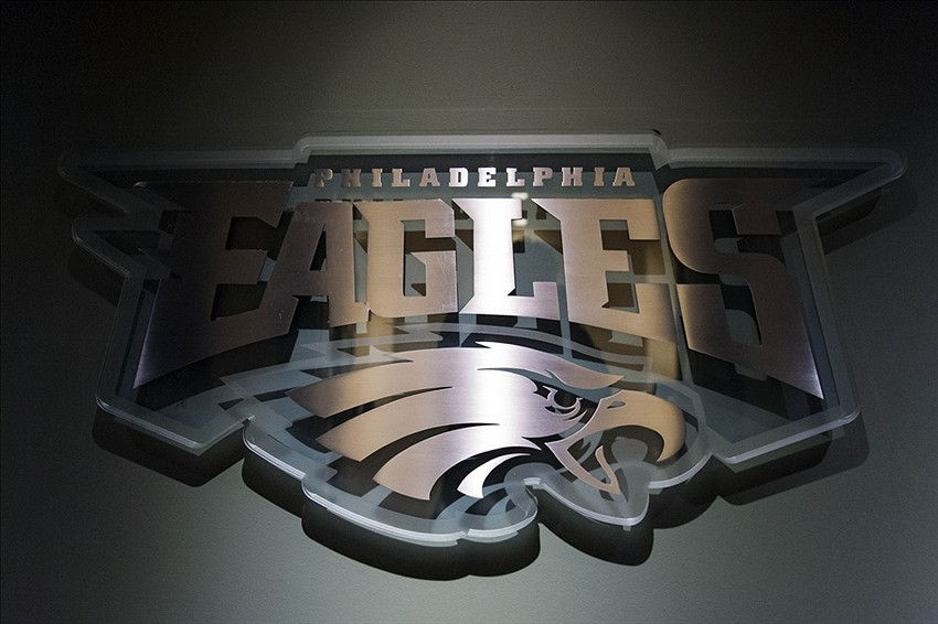 Jan 17, 2013; Philadelphia, PA, USA; The Philadelphia Eagles logo at the entrance to the auditorium prior to a press conference announcing Chip Kelly (not pictured) as the new head coach of the Eagle at the Philadelphia Eagles NovaCare Complex. Mandatory Credit: Howard Smith-USA TODAY Sports