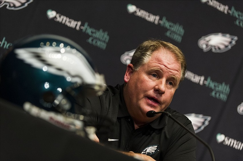 Jan 17, 2013; Philadelphia, PA, USA; Philadelphia Eagles new head coach Chip Kelly addresses the media during a press conference at the Philadelphia Eagles NovaCare Complex. Mandatory Credit: Howard Smith-USA TODAY Sports