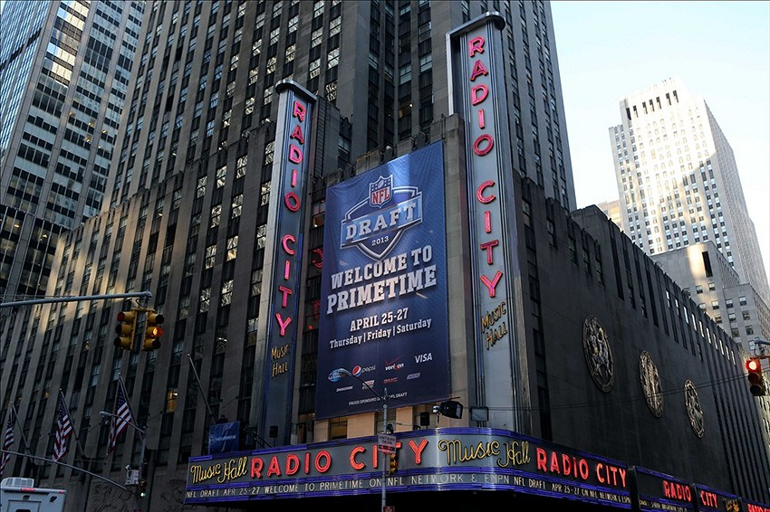 Apr 25, 2013; New York, NY, USA; A general view of the exterior of Radio City Music Hall before the 2013 NFL Draft. Mandatory Credit: Jerry Lai-USA TODAY Sports