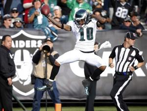 Nov 3, 2013; Oakland, CA, USA; Philadelphia Eagles wide receiver DeSean Jackson (10) celebrates after scoring a touchdown during the third quarter against the Oakland Raiders at O.co Coliseum. Mandatory Credit: Bob Stanton-USA TODAY Sports