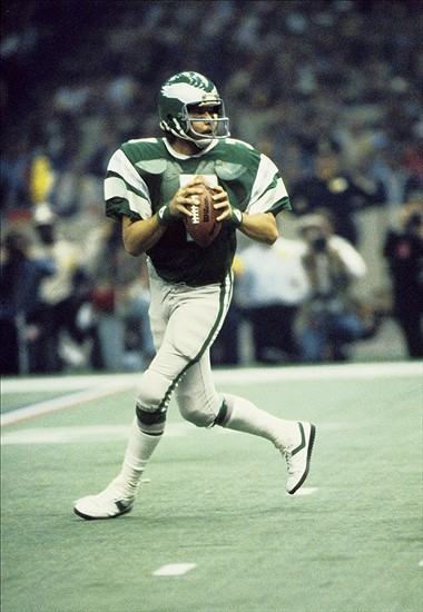 Jan 25, 1981; New Orleans, LA, USA; FILE PHOTO; Philadelphia Eagles quarterback Ron Jaworski (7) looks to throw against the Oakland Raiders in Super Bowl XV at the Superdome. The Raiders defeated the Eagles 27-10. Mandatory Credit: Malcolm Emmons-USA TODAY Sports