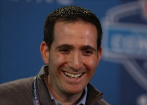 Feb 21, 2013; Indianapolis, IN, USA; Philadelphia Eagles general manager Howie Roseman speaks during a press conference during the 2013 NFL Combine at Lucas Oil Stadium. Mandatory Credit: Brian Spurlock-USA TODAY Sports