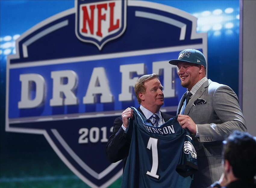 Apr 25, 2013; New York, NY, USA; Lane Johnson (Oklahoma) is introduced by NFL commissioner Roger Goodell as the number four overall pick to the Philadelphia Eagles during the 2013 NFL Draft at Radio City Music Hall. Mandatory Credit: Jerry Lai-USA TODAY Sports