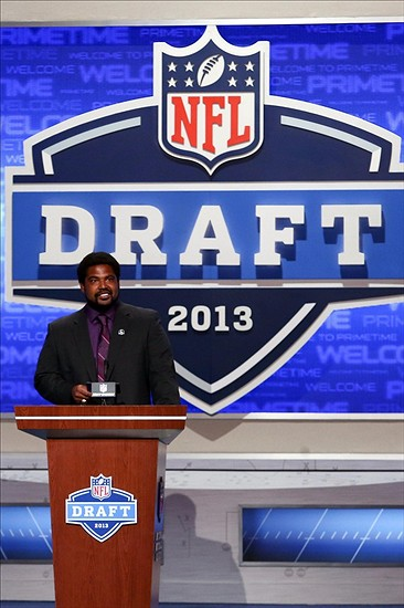 Apr 26, 2013; New York, NY, USA; NFL former player Jonathan Ogden announces the number fifty-six overall pick to the Baltimore Ravens during the 2013 NFL Draft at Radio City Music Hall. Mandatory Credit: Debby Wong-USA TODAY Sports