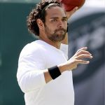 Sep 8, 2013; East Rutherford, USA; New York Jets quarterback Mark Sanchez (6) before the game against the Tampa Bay Buccaneers at MetLife Stadium. Mandatory Credit: William Perlman/THE STAR-LEDGER via USA TODAY Sports