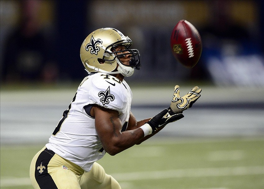 Dec 15, 2013; St. Louis, MO, USA; New Orleans Saints running back Darren Sproles (43) catches a punt during the first half against the St. Louis Rams at the Edward Jones Dome. Mandatory Credit: Jeff Curry-USA TODAY Sports