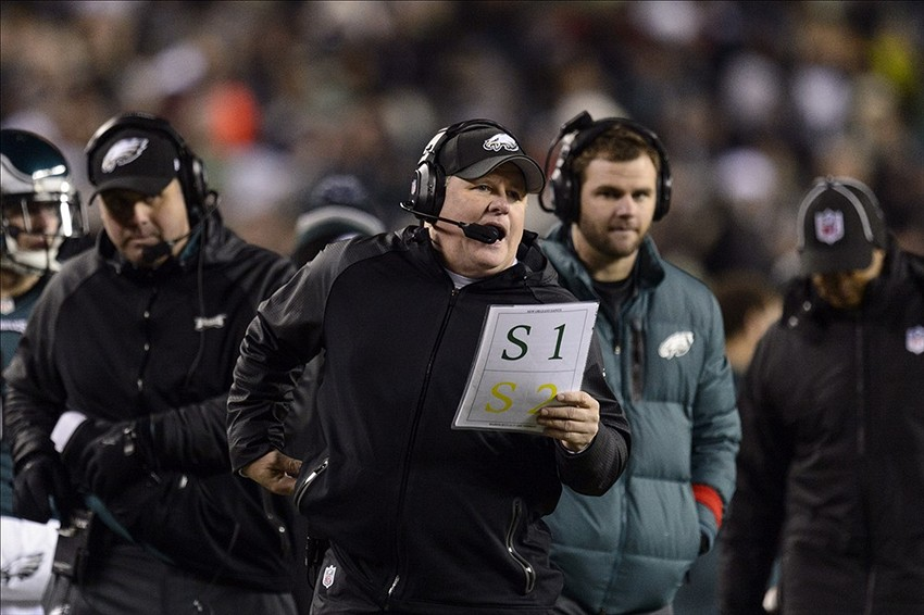 Jan 4, 2014; Philadelphia, PA, USA; Philadelphia Eagles head coach Chip Kelly along the sidelines during the fourth quarter against the New Orleans Saints during the 2013 NFC wild card playoff football game at Lincoln Financial Field. The Saints defeated the Eagles 26-24. Mandatory Credit: Howard Smith-USA TODAY Sports