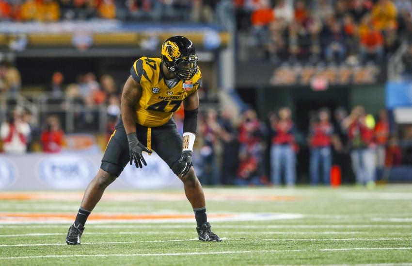 Jan 3, 2014; Arlington, TX, USA; Missouri Tigers defensive lineman Kony Ealy (47) during the game against the Oklahoma State Cowboys in the 2014 Cotton Bowl at AT&T Stadium. Missouri won 41-31. Mandatory Credit: Kevin Jairaj-USA TODAY Sports