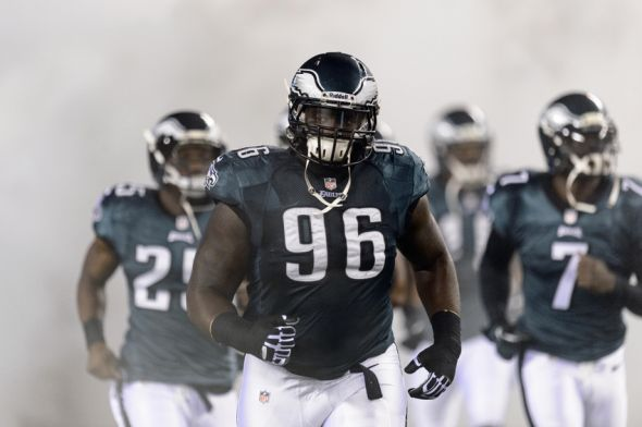 Dec 22, 2013; Philadelphia, PA, USA; Philadelphia Eagles defensive tackle Bennie Logan (96) enters the field during introductions prior to playing the Chicago Bears at Lincoln Financial Field. The Eagles defeated the Bears 54-11. Mandatory Credit: Howard Smith-USA TODAY Sports