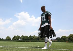 Jun 17, 2014; Philadelphia, PA, USA; Philadelphia Eagles wide receiver Jordan Matthews (81) walks off the field at the conclusion of practice during mini camp at the Philadelphia Eagles NovaCare Complex. Mandatory Credit: Bill Streicher-USA TODAY Sports
