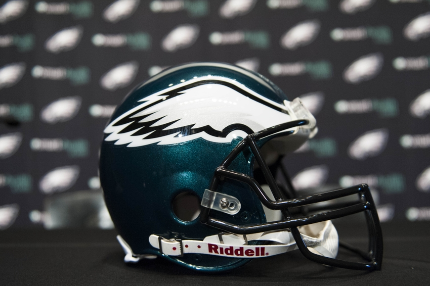 Jan 17, 2013; Philadelphia, PA, USA; A Philadelphia Eagles helmet rests on a table prior to a press conference to announce Chip Kelly (not pictured) as the new Eagles head coach at the Philadelphia Eagles NovaCare Complex. Mandatory Credit: Howard Smith-USA TODAY Sports