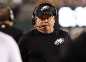 Aug 21, 2014; Philadelphia, PA, USA; Philadelphia Eagles head coach Chip Kelly during the first quarter of a game against the Pittsburgh Steelers at Lincoln Financial Field. Mandatory Credit: Bill Streicher-USA TODAY Sports