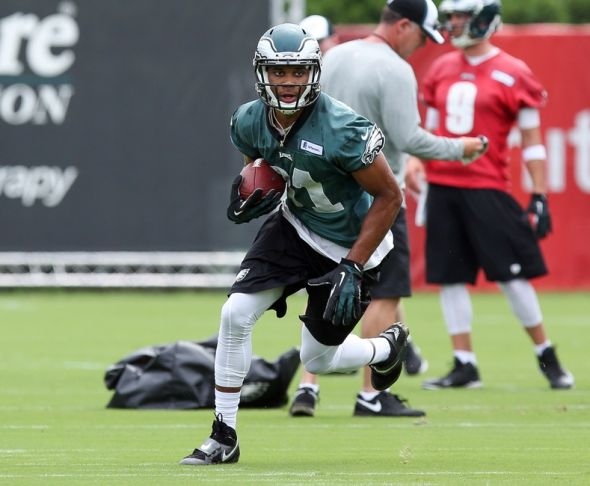 Jul 26, 2014; Philadelphia, PA, USA; Philadelphia Eagles wide receiver Jordan Matthews (81) runs drills during training camp at the Novacare Complex. Mandatory Credit: Bill Streicher-USA TODAY Sports