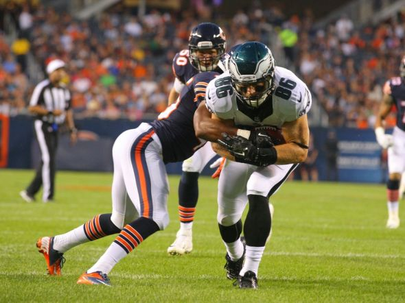 Aug 8, 2014; Chicago, IL, USA; Philadelphia Eagles tight end Zach Ertz (86) is tackled by Chicago Bears strong safety Brock Vereen (45) during the second quarter of a preseason game at Soldier Field. Mandatory Credit: Dennis Wierzbicki-USA TODAY Sports