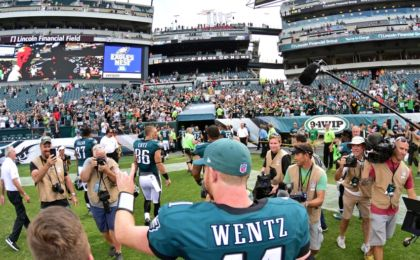 Sep 11, 2016; Philadelphia, PA, USA; Philadelphia Eagles quarterback Carson Wentz (11) walks off the field after defeating Cleveland Browns at Lincoln Financial Field. The Eagles defeated the Browns, 29-10. Mandatory Credit: Eric Hartline-USA TODAY Sports