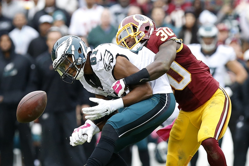 Oct 4, 2015; Landover, MD, USA; Washington Redskins strong safety Kyshoen Jarrett (30) breaks up a pass intended for Philadelphia Eagles wide receiver Jordan Matthews (81) in the third quarter at FedEx Field. The Redskins won 23-20. Mandatory Credit: Geoff Burke-USA TODAY Sports