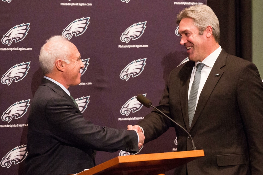 Jan 19, 2016; Philadelphia, PA, USA; Philadelphia Eagles owner Jeffrey Lurie (left) introduces new head coach Doug Pederson (right) during a press conference at the NovaCare Complex . Mandatory Credit: Bill Streicher-USA TODAY Sports