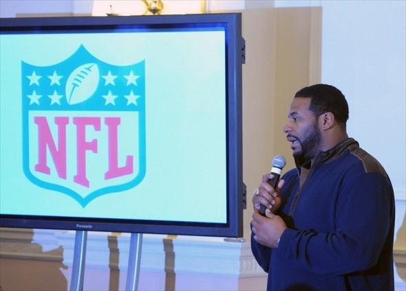 Oct 22, 2011; London, UNITED KINGDOM; Pittsburgh Steelers former running back Jerome Bettis at the 2011 NFL International Series commissioners fan forum at the Landmark Hotel. Mandatory Credit: Kirby Lee/Image of Sport-USA TODAY Sports