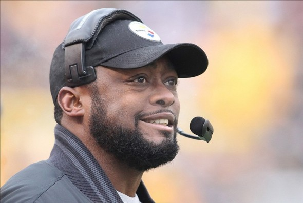 December 30, 2012; Pittsburgh, PA, USA; Pittsburgh Steelers head coach Mike Tomlin reacts on the sidelines against the Cleveland Browns during the first quarter at Heinz Field. The Pittsburgh Steelers won 24-10. Mandatory Credit: Charles LeClaire-USA TODAY Sports