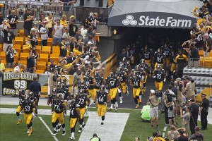 Sep 8, 2013; Pittsburgh, PA, USA; The Pittsburgh Steelers take the field to begin the game against the Tennessee Titans at Heinz Field. The Tennessee Titans won 16-9. Mandatory Credit: Charles LeClaire-USA TODAY Sports