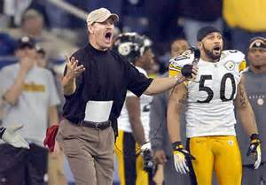Bill Cowher and Larry Foote were astonished like everyone else that referee Pete Morelli was the only person in the universe who didn't think Polamalu intercepted that pass. Courtesy bing images.