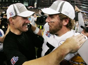 Roethlisberger and Cowher hug after winning Super Bowl XL just 4 months prior to Roethlisberger's near death motorcycle accident. Courtesy bing images