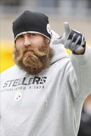 Nov 10, 2013; Pittsburgh, PA, USA; Pittsburgh Steelers defensive end Brett Keisel reacts on the field prior to the game against the Buffalo Bills at Heinz Field. Mandatory Credit: Charles LeClaire-USA TODAY Sports