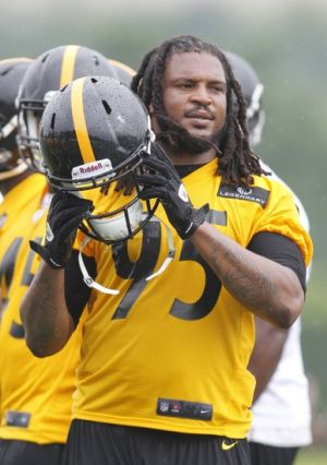 Jul 27, 2013; Latrobe, PA, USA; Pittsburgh Steelers linebacker Jarvis Jones (95) participates in drills during training camp at Saint Vincent College. Mandatory Credit: Charles LeClaire-USA TODAY Sports