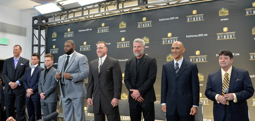 Eddie-debartolo-jr-orlando-pace-kevin-greene-tony-dungy-brett-favre-nfl-super-bowl-50-hall-of-fame-class-of-2016-press-conference