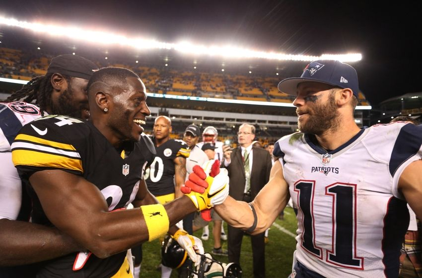 Oct 23, 2016; Pittsburgh, PA, USA; Pittsburgh Steelers wide receiver Antonio Brown (84) and New England Patriots wide receiver Julian Edelman (11) shake hands after their game at Heinz Field. New England won 27-16. Mandatory Credit: Charles LeClaire-USA TODAY Sports