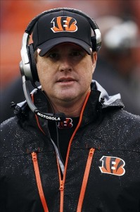 Nov 27, 2011; Cincinnati, OH, USA; Cincinnati Bengals offensive coordinator Jay Gruden during the first half against the Cleveland Browns at Paul Brown Stadium. Mandatory Credit: Frank Victores-US PRESSWIRE