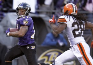 Ray Rice #27 of the Baltimore Ravens rushes for a touchdown in front of Usama Young #28 of the Cleveland Browns after catching a pass during the first half at M&T Bank Stadium on December 24, 2011 in Baltimore, Maryland. (December 23, 2011 - Source: Rob Carr/Getty Images North America)